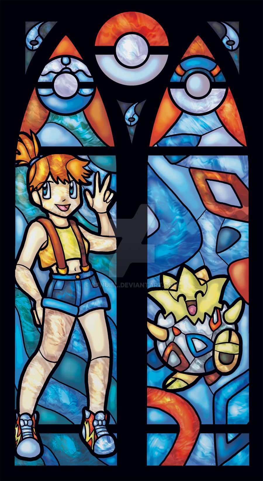 Misty and Togepi Stained Glass Window by nenuiel
