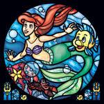 Little Mermaid Stained Glass Window Illustration