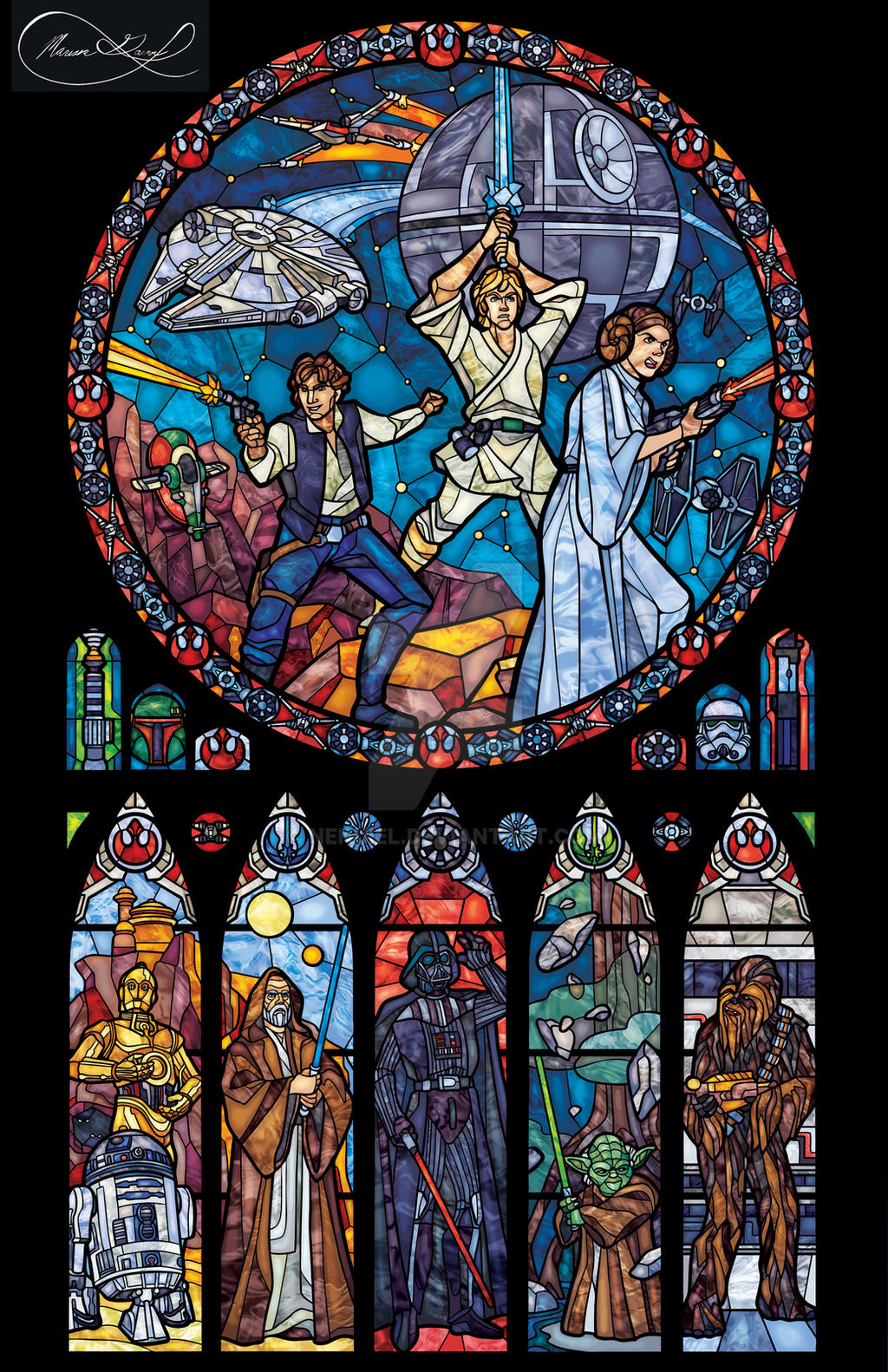 Star wars stained glass classic by nenuiel on deviantart for 5 star windows