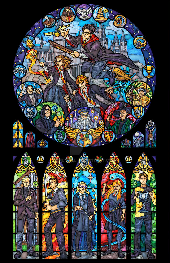 harry potter stained glass illustration by nenuiel on. Black Bedroom Furniture Sets. Home Design Ideas