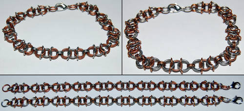 Copper and Stainless Steel Chainmaille Bracelets