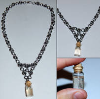 Steel Flowers and Pixie Dust Chainmaille Necklace