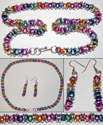 Rainbow and Silver Orbital Chainmaille Necklace