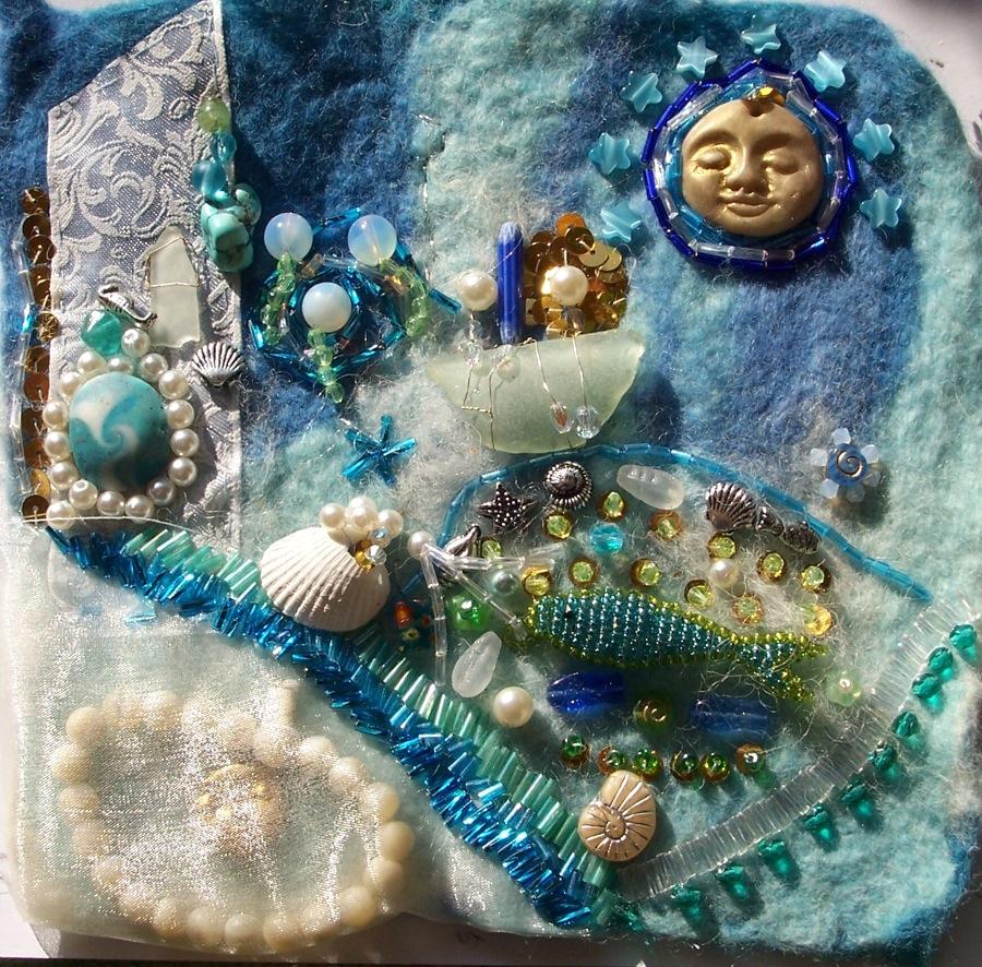 Mermaid bead embroidery w i p by valerianasolaris on