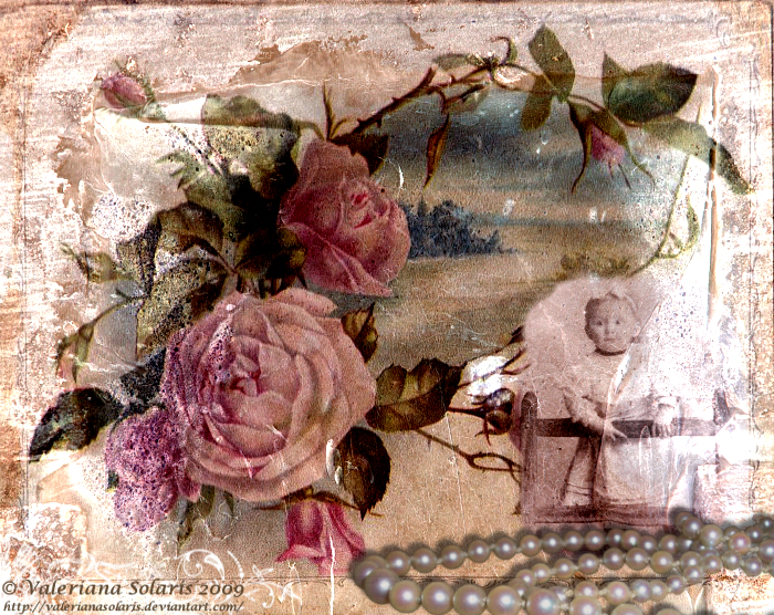 Vintage Collage with Roses