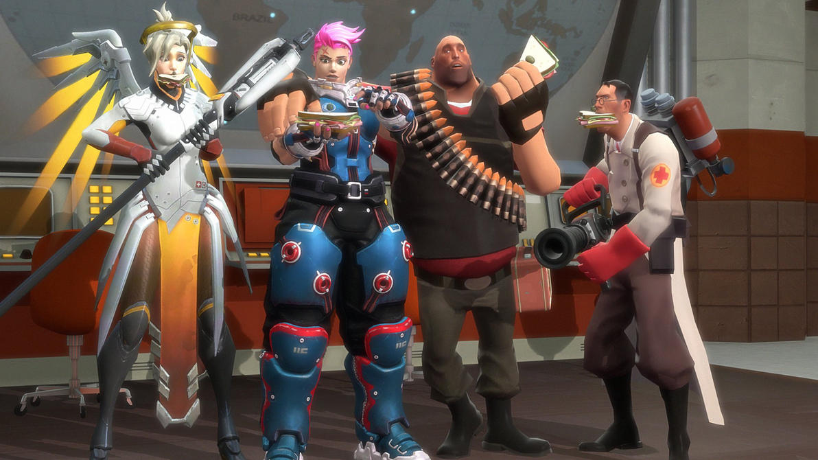 Water Vs Fire Arm Wrestling: Zarya And Heavy: Sandvich By DarknessRingoGallery On