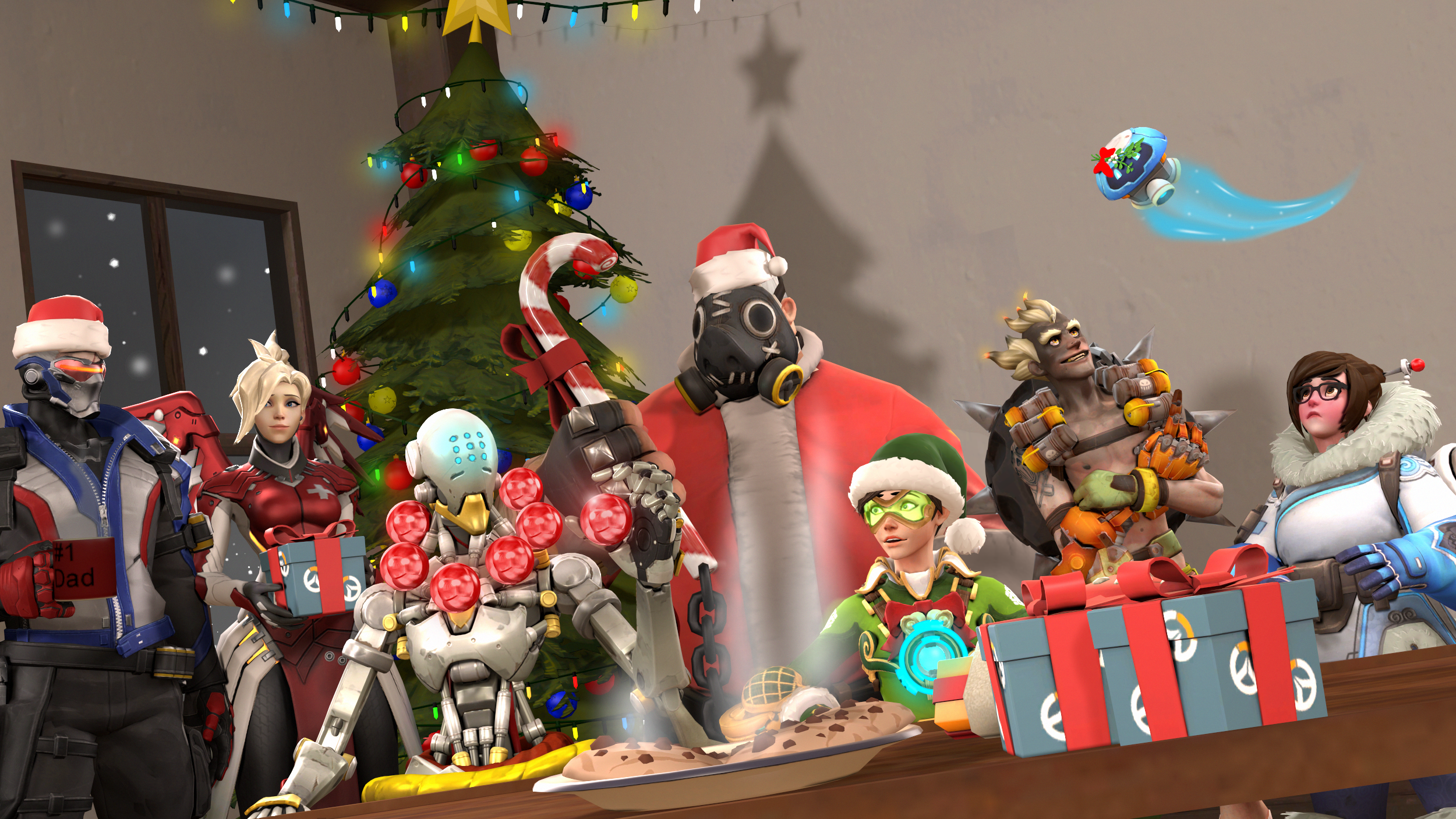 Merry christmas overwatch by darknessringogallery on - Overwatch christmas wallpaper ...