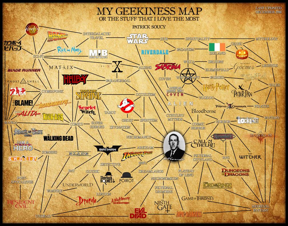 My Geekiness Map (Updated December 2018)