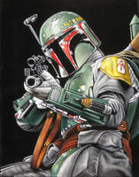 Fett black velvet painting by BruceWhite