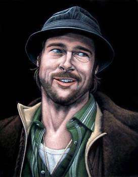 Brad Pitt as Mickey black velvet painting