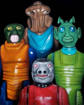 Vintage Kenner Aliens figures velvet painting