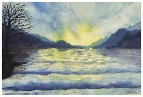 Watercolor seascape by dominikmellen