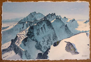 Tatra mountains watercolor by dominikmellen