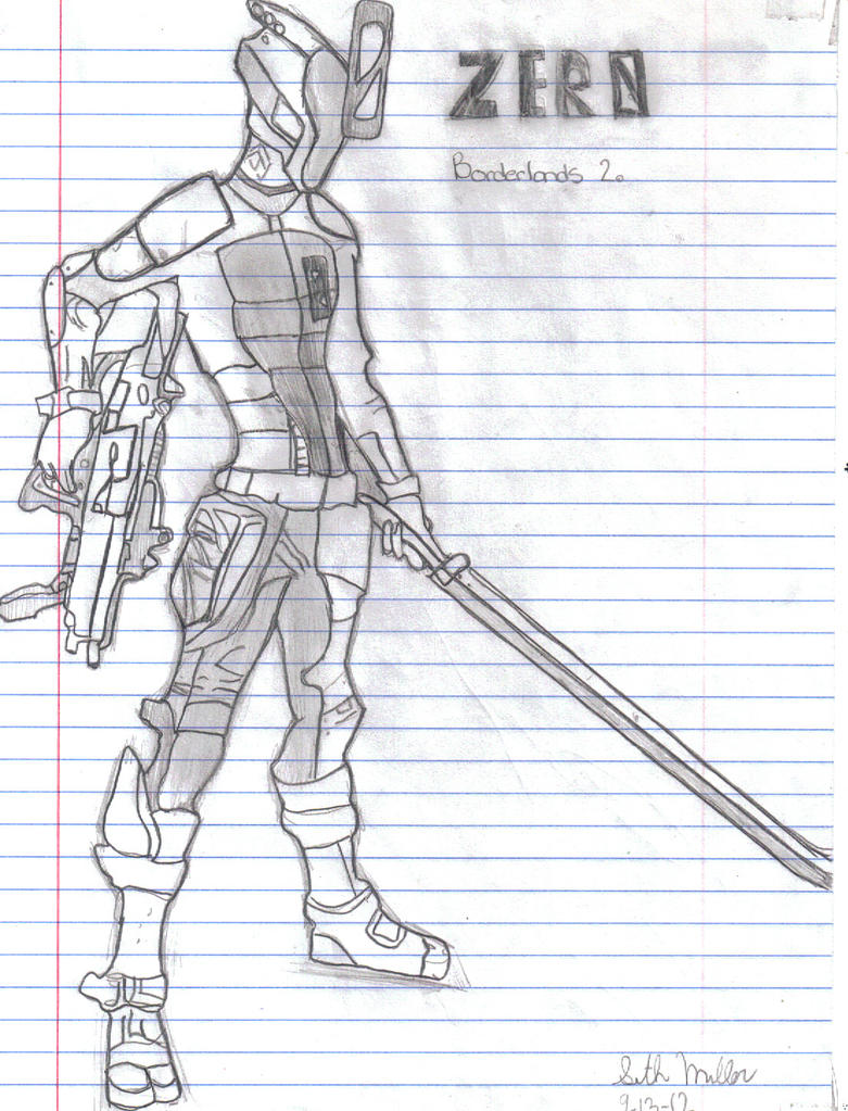 [Sketch] Zero from Borderlands 2 by LessHoly