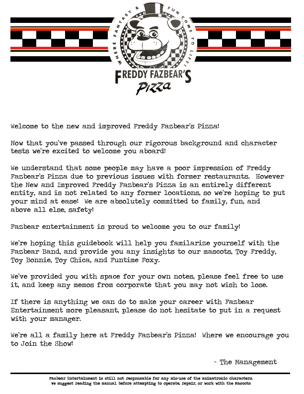1987 Welcome Letter By SpringlockedFoxy On DeviantArt