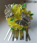 Canola and Silver Butterfly Kanzashi Hair Fork
