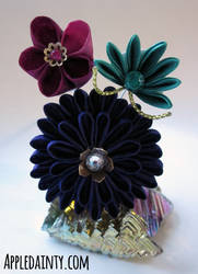 December - Plum, Aster and Pine Medium Kanzashi by AppleDainty
