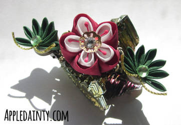 Plum Blossom and Pine Barrette by AppleDainty