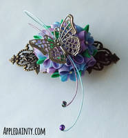 Hydrangea and Butterfly Barrette