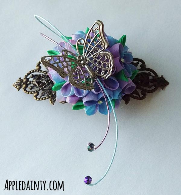 Hydrangea and Butterfly Barrette