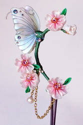 Butterfly and Cherry Blossom Ear Cuff