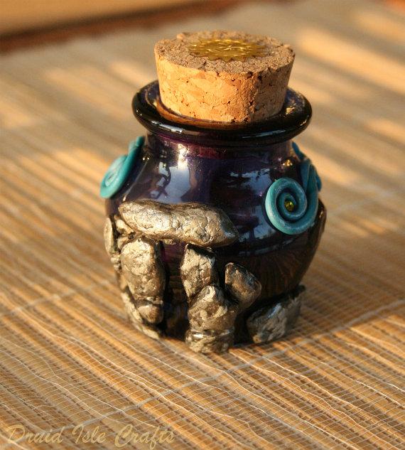 Essence of Bryn Celli Ddu polymer clay bottle by DruidIsleCrafts