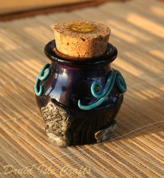 Essence of Bryn Celli Ddu polymer clay bottle (2) by DruidIsleCrafts
