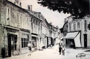 Village francais autrefois - fusain by Loplasticien