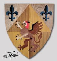 Blason- armes marquetterie bois heraldry by Loplasticien