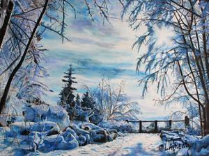 Landspcape sun snow winter - acrylic paint
