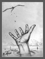 Hand for peace traditionnal graphite draw by Loplasticien
