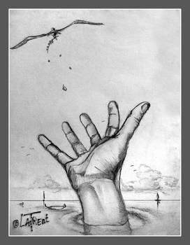 Hand for peace traditionnal graphite draw