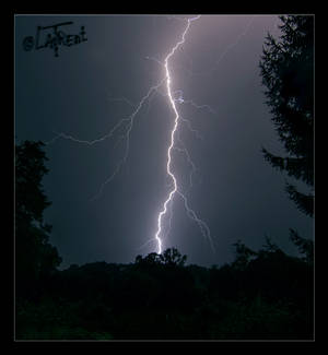 Storm flash on country landscape photo