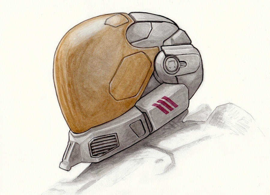 It is an image of Crafty Halo Helmet Drawing