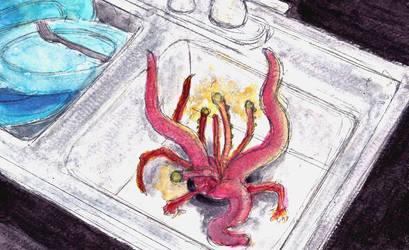 Weekly Watercolor: Garbage Disposal