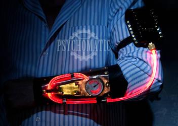 Steampunk bracer (red on) by LahmatTea