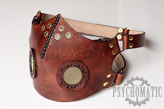 Steampunk leather mask by LahmatTea