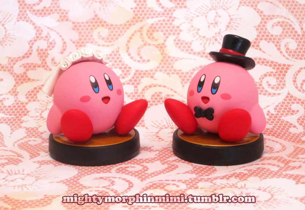 Commission:Customized Bride and Groom Kirby Amiibo by Mighty-Morphin-Mimi