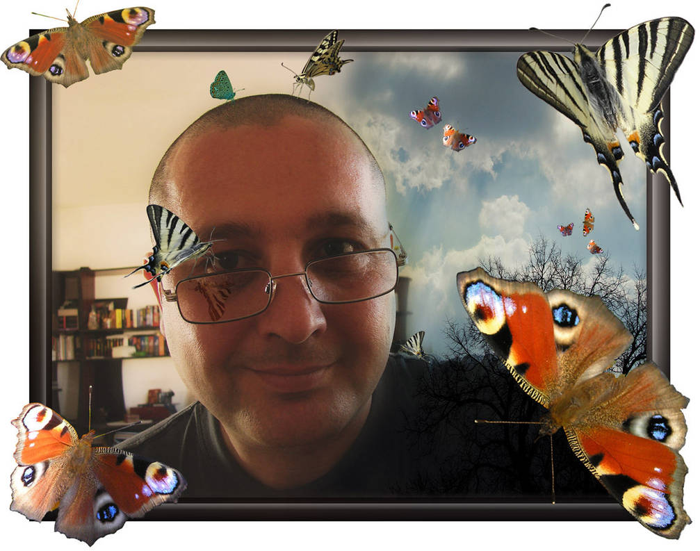 Man with butterflys