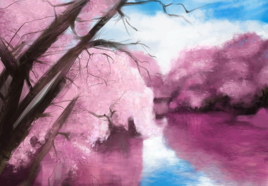 Sakura lake by Dathne
