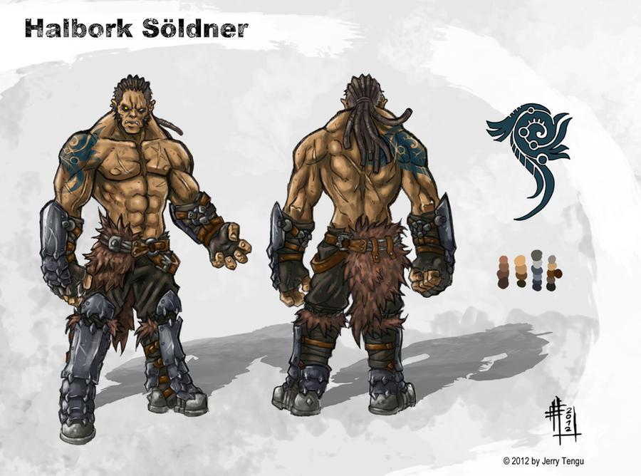 Half-Orc Mercenary by JerryTengu