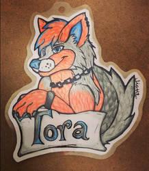 Hand draw badge commission - Tora Wolf