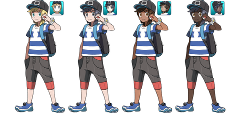 Pokemon Sun and Moon Male Trainer Alternates