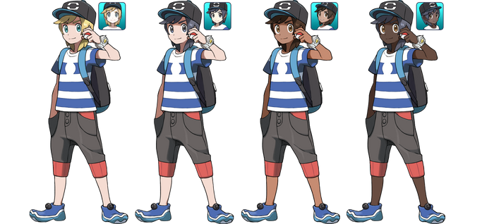 Pokemon Sun and Moon Male Trainer Alternates by SirPeaches