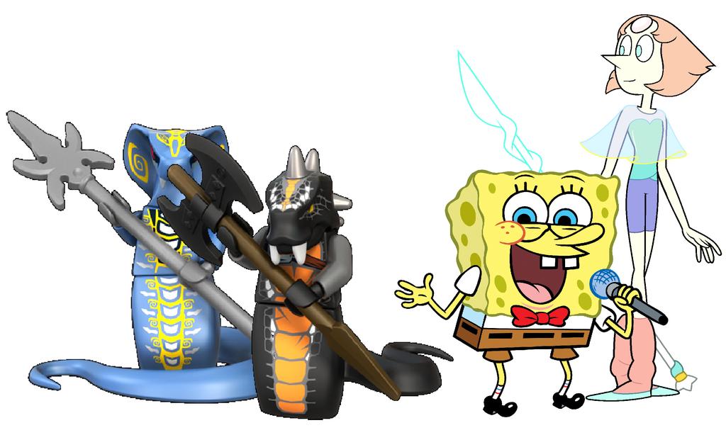Spongebob, Pearl, Skales and Skalidor by SandyKim