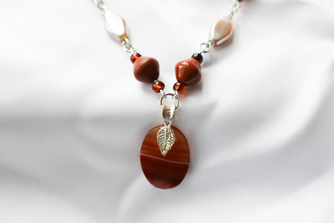 Orange Agate Pendant on SpiceColor Beaded Necklace by DanikaMilles