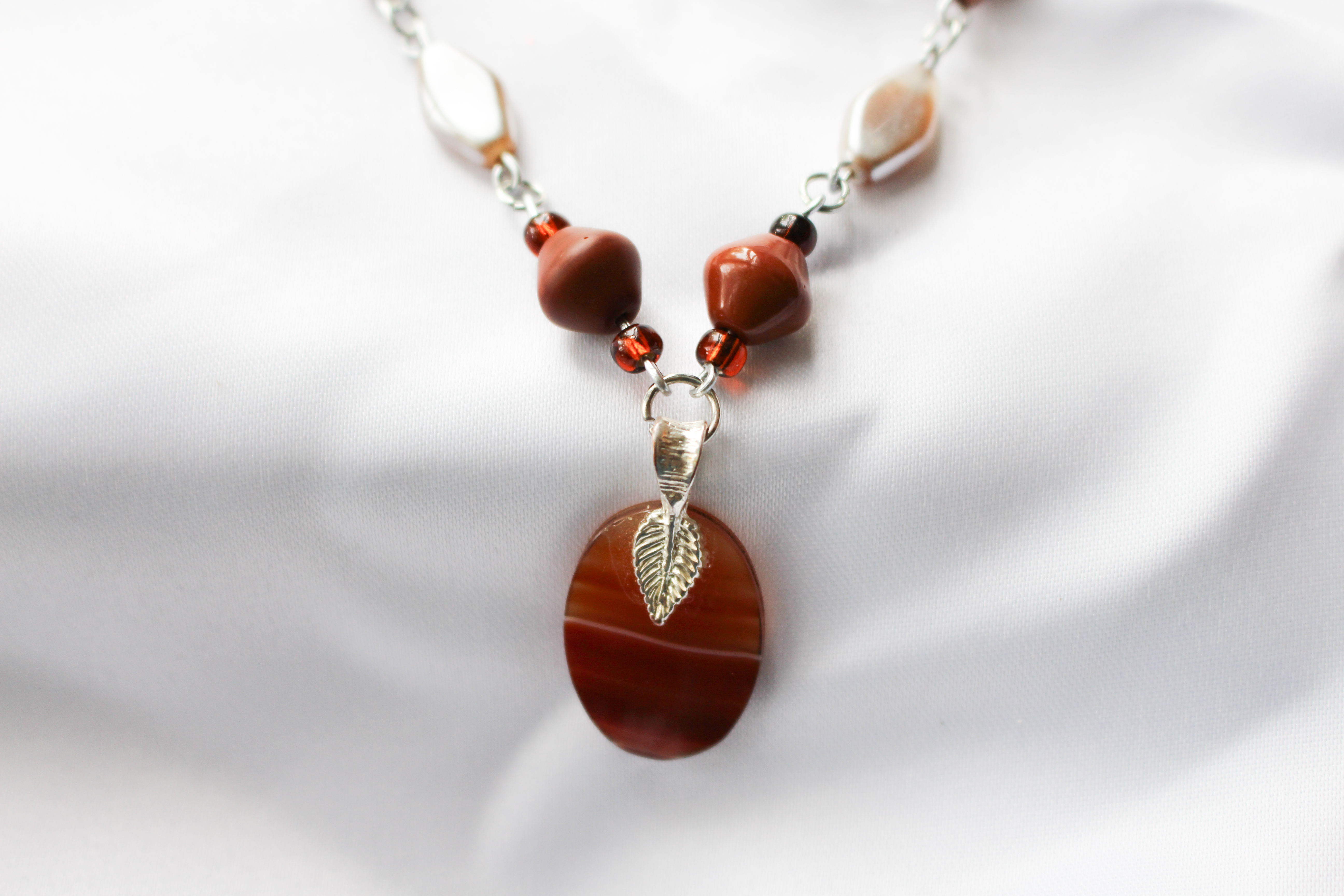 Orange Agate Pendant on SpiceColor Beaded Necklace by ...