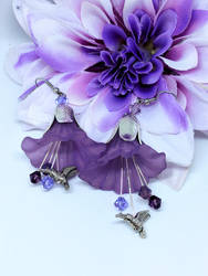 Purple Lucite Earrings with Silver Toned Findings