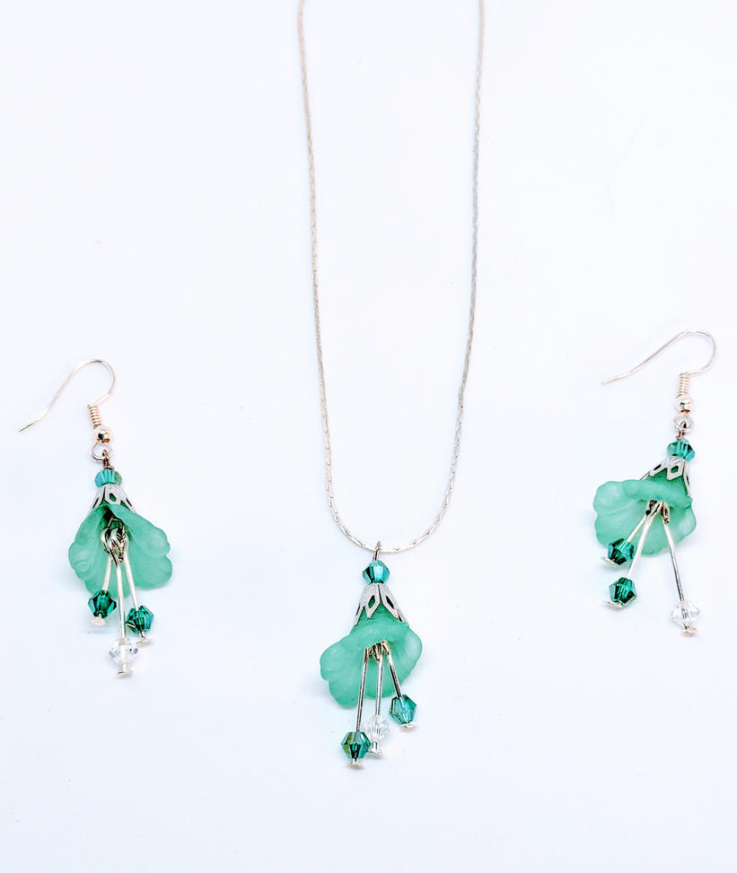 Sea-foam  Lucite Earrings and Necklace by DanikaMilles