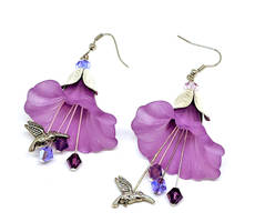 Large Purple Lucite Flower Earrings
